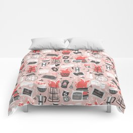 Modern farmhouse coffee station // pink Comforters