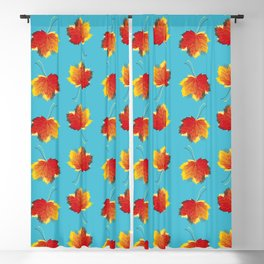 Autumn leaves red yellow on blue Blackout Curtain