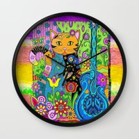 hippy Wall Clocks featuring Hippy Puss by SwanniePhotoArt
