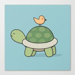 Kawaii Cute Tortoise And Bird Canvas Print