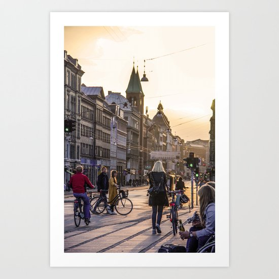 Nørrebrogade at Dusk Art Print