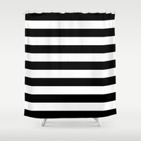 stripes Shower Curtains featuring Horizontal Stripes (Black/White) by 10813 Apparel