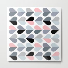 Love and Kisses in Pink and Grey Metal Print
