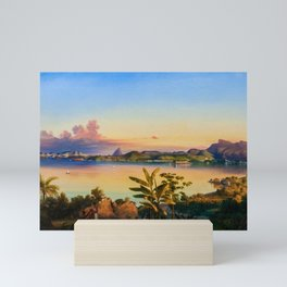 Rio De Janeiro with Sugarloaf in Background, Brazil coastal landscape painting by Alessandro Cicarelli Mini Art Print