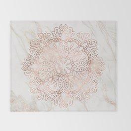 Rose Gold Mandala Marble Throw Blanket