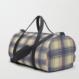 Tartan Pattern in Beige and Blue Duffle Bag