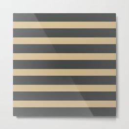 Brown Cream Stripes on Gray Background Metal Print