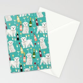 Maltese wine pattern dog breed dog portrait pet friendly pet art champagne Stationery Cards