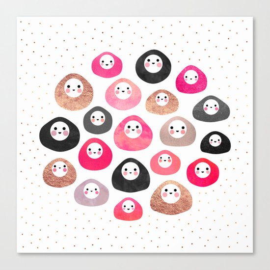 A bunch of happy blobs Canvas Print