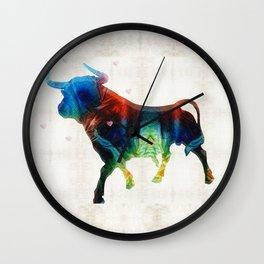 Bull Art Print – Love A Bull 2 – By Sharon Cummings Wall Clock