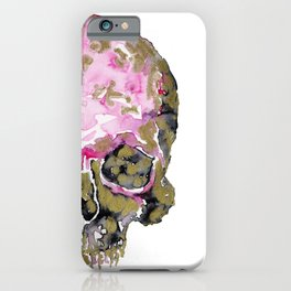 Skull In Pink & Gold iPhone Case