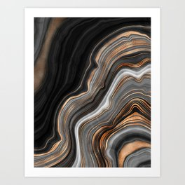 Elegant black marble with gold and copper veins Art Print
