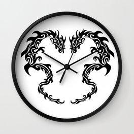 Two Tribal Dragons Wall Clock