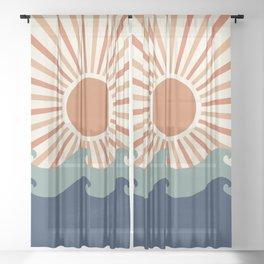 Retro, Sun and Wave Art, Blue and Orange Sheer Curtain