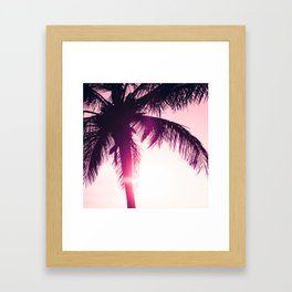 pink palm tree silhouettes kihei tropical nights Framed Art Print