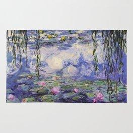 1917 Water Lilies oil on canvas. Claude Monet. Vintage fine art. Rug