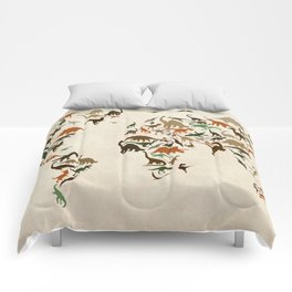 Dinosaur Map of the World Map Comforters