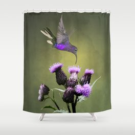 Violet Sabrewing Hummingbird and Thistle Shower Curtain