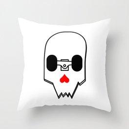 Broken Skateboard Skull Throw Pillow