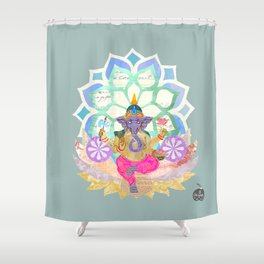 Lord Ganesh in Lotus throne Shower Curtain