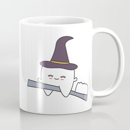 cute cartoon tooth with witch hat flying on toothbrush funny halloween illustration Coffee Mug