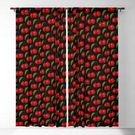 Cherry Pattern - Black Blackout Curtain