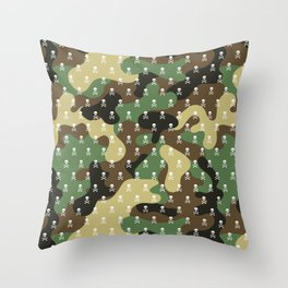 SKULLS PATTERN - CAMO & WHITE - LARGE Throw Pillow