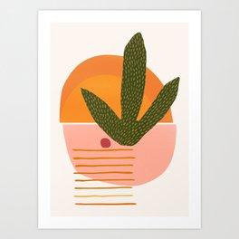 Desert Sunset With Cactus and Cherry Art Print