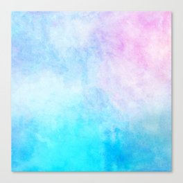 Baby Blue Pink Watercolor Texture Canvas Print