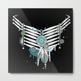 Indian necklace with feathers Metal Print