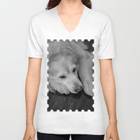 golden retriever V-neck T-shirts featuring Golden retriever by Mauricio Togawa
