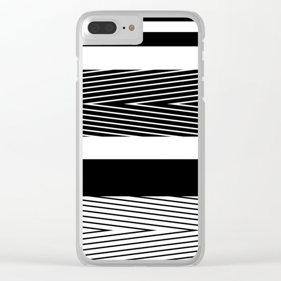 Black and white abstract striped pattern Clear iPhone Case