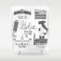 italian Shower Curtains featuring Italian Landmarks by Stacey Walker Oldham