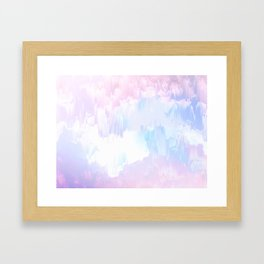 Sky Fall Dream Pastel Glitch - pink and blue Framed Art Print