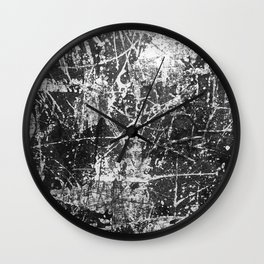 black abstract mono graffiti texture pattern Wall Clock