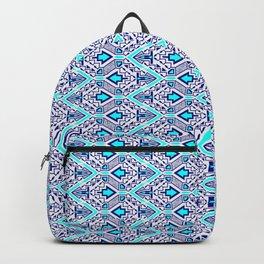 Chevron Arrowhead Blue and Cyan Opposing Arrows Design Pattern Backpack