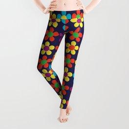 Bright Multi Colored Small Daisies Leggings