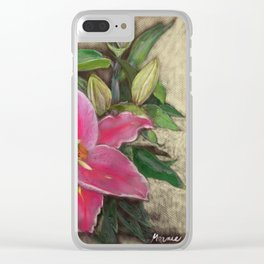 Pink Lily Clear iPhone Case