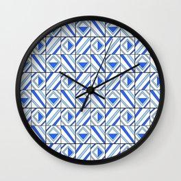 symetric tartan and gingham 13 -vichy, gingham,strip,square,geometric, sober,tartan Wall Clock
