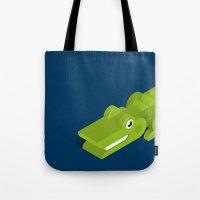 crocodile Tote Bags featuring Crocodile by Mezoozoo
