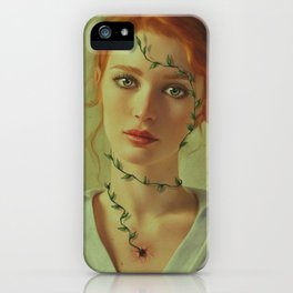 Green soul, woman portrait, fine art, contemporary art, ginger hair, galery art iPhone Case