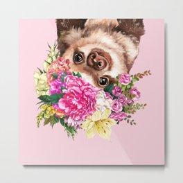 Flower Crown Baby Sloth in Pink Metal Print