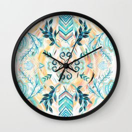 Abstract Painted Boho Pattern in Cyan & Teal Wall Clock