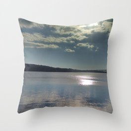 Winter on the Thames River, CT Throw Pillow
