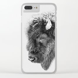 Animal Photography | Bison Portrait | Black and White | Minimalism Clear iPhone Case
