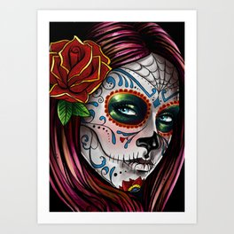 Mexican Skull Girl Art Print