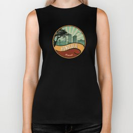 Honolulu City Skyline Design Hawaii Retro Vintage 80s Biker Tank