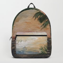 Beach Side  Oil on Canvas Backpack