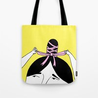 bow Tote Bags featuring Bow by Malin Koort