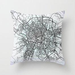 Dijon, France, White, City, Map Throw Pillow